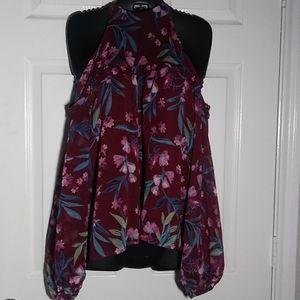 Lush Floral Cold Shoulder Blouse